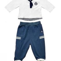 Completo neonato stile marinaretto bianco e blu