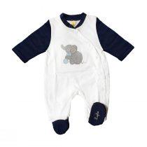 Tutina neonato con elefante ricamato blu e bianca