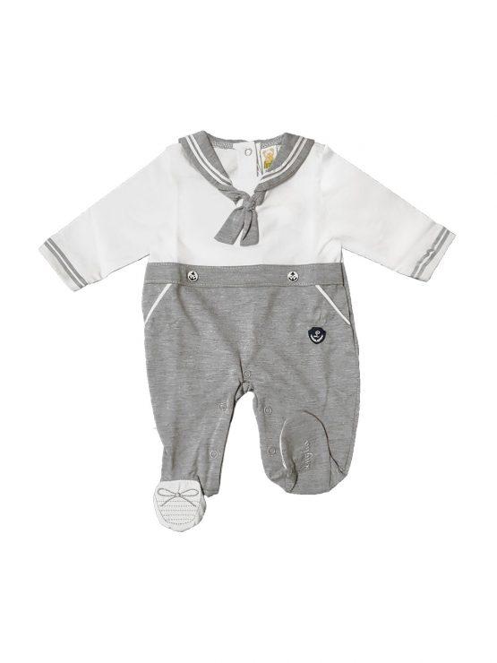 Tutina neonato stile marinaretto grigio e bianco