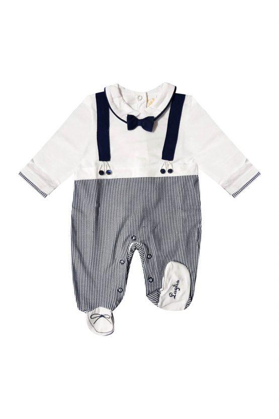 Tutina neonato con papillon e bretelle applicate bianco e blu