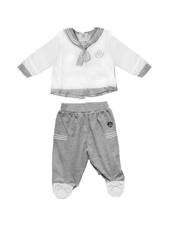 Completo neonato stile marinaretto bianco e grigio