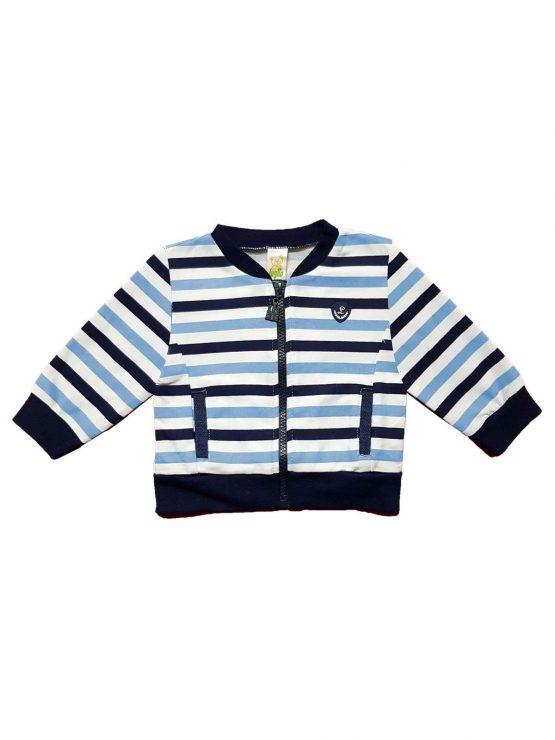 Giacchino neonato a righe bianco, cielo e blu