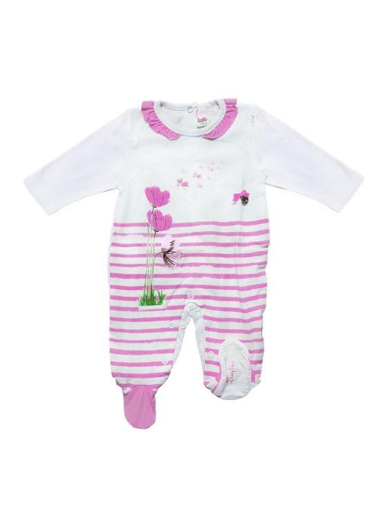 Tutina neonata con fiore stampato viola e bianco