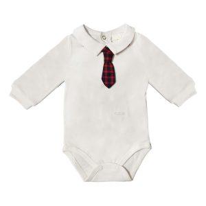 Body Cotone Luglio Con Finta Cravatta Rossa Scozzese Lu750