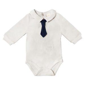 Body Cotone Luglio Con Finta Cravatta Blu Lu750