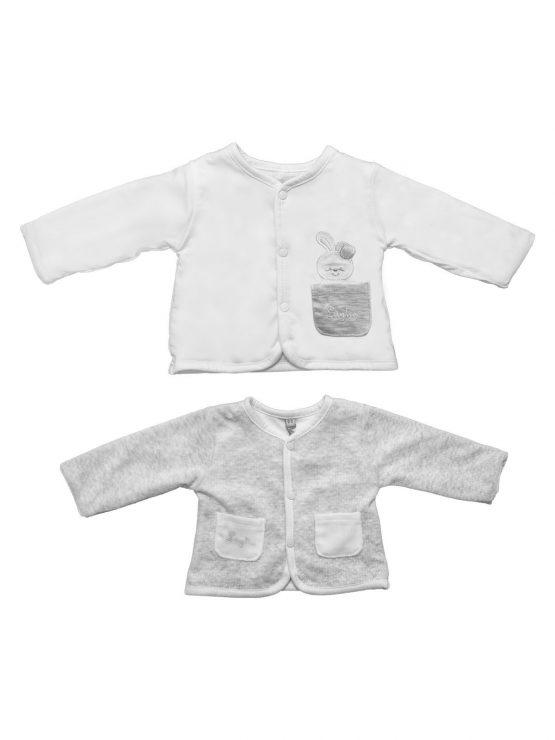 Cardigan per neonata doppia faccia bianco Luglio