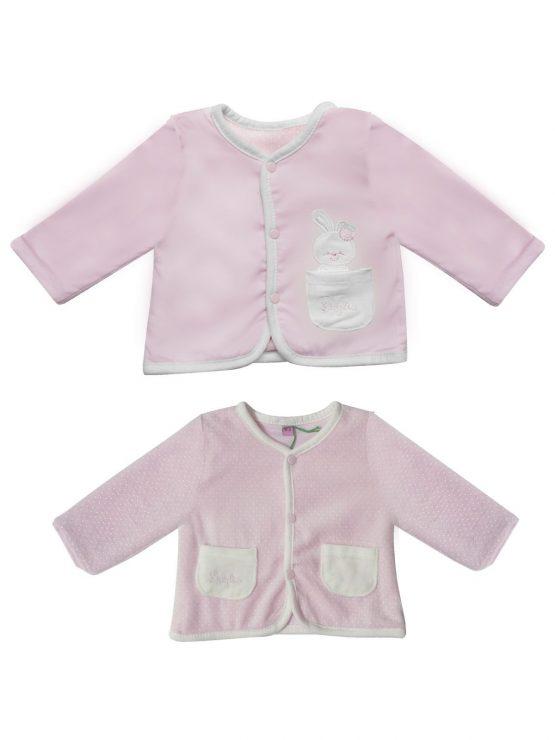 Cardigan per neonata doppia faccia rosa Luglio