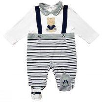Tutina neonato con finte bretelle bianco, grigio e blu