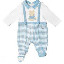 Tutina neonato con finte bretelle bianco e cielo