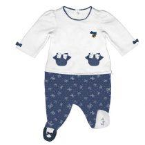 Tutina neonata con fiocchi bianchi e blu