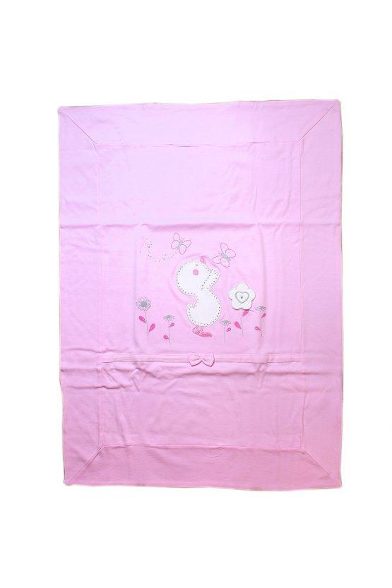 Copertina per culla rosa con ricami a forma di papero e farfalle