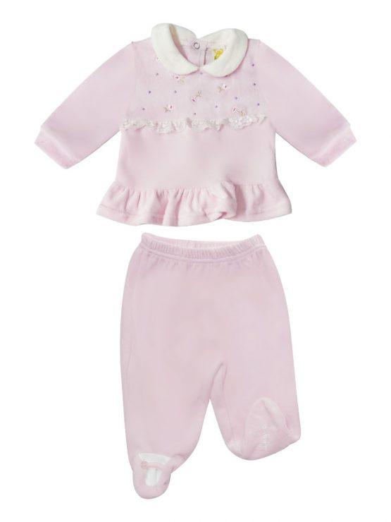 Tutina Per Neonata Rosa Con Fiori
