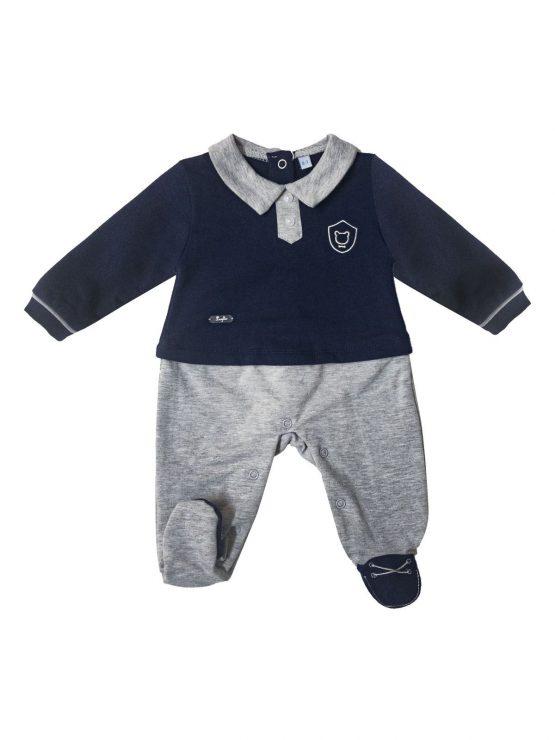 Tutina per neonata blu in cotone felpato Luglio
