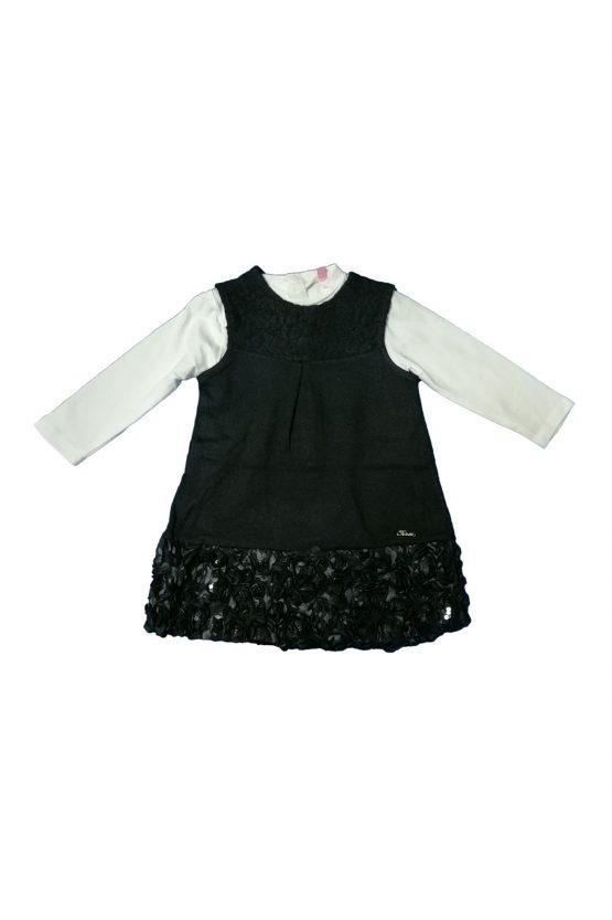 Vestitino Bianco E Nero Con Rose Ricamate E Paillette