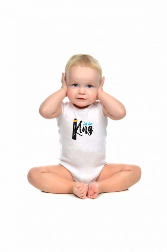 """Body maschietto con simpatica stampa con scritto """"King"""""""