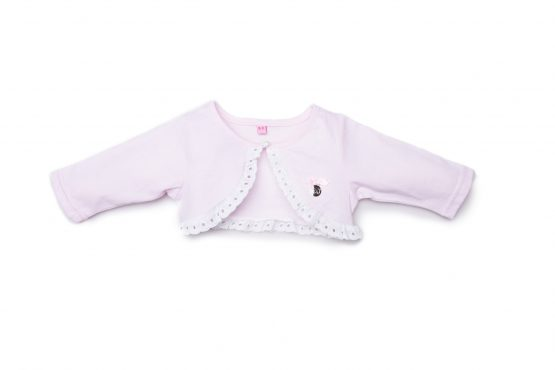 Cardigan Femminuccia Luglio Abbigliamento In Filo Rosa Con Dettagli Bianchi Lu770