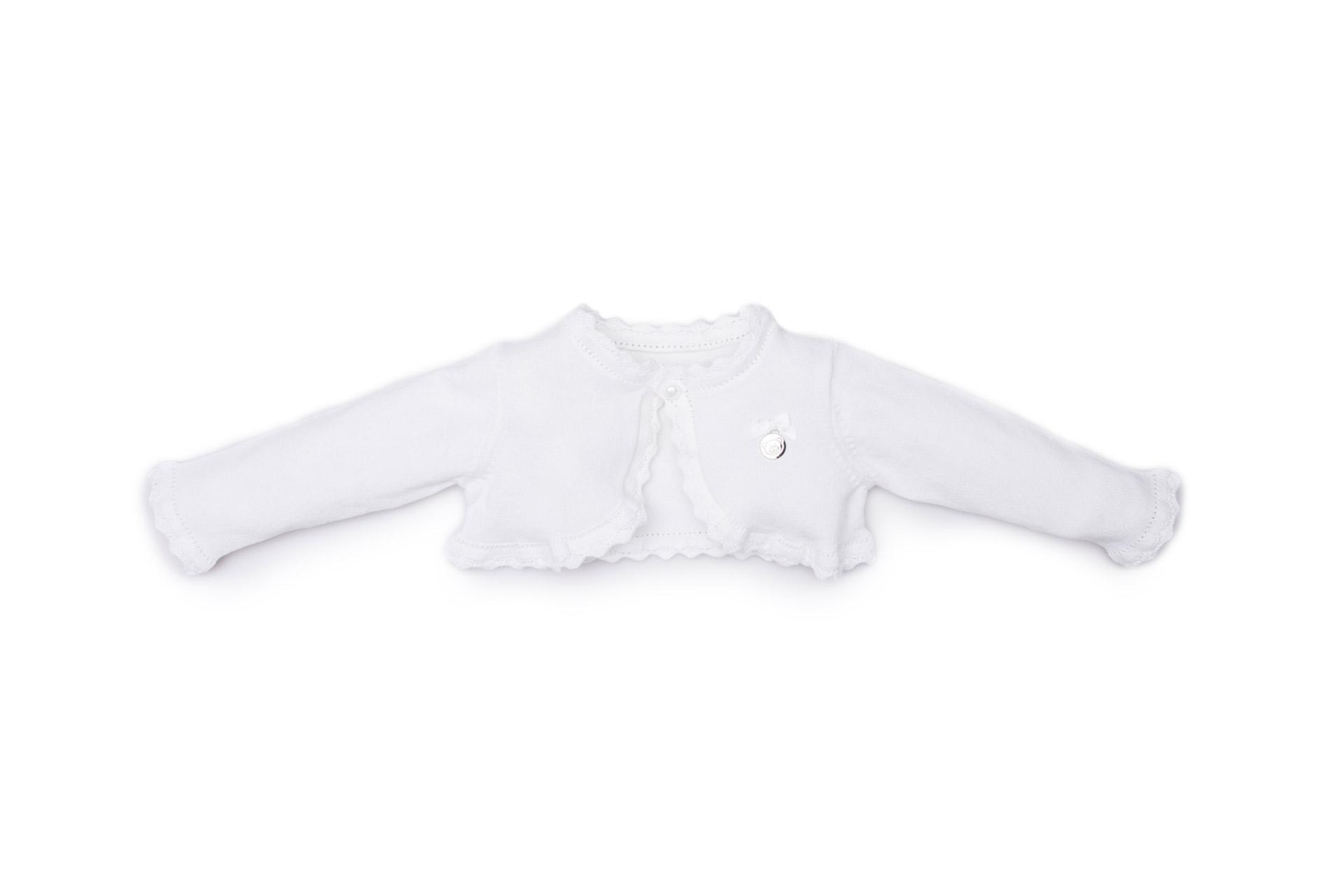 cardigan filo femminuccia luglio abbigliamento colore bianco medaglietta applicata