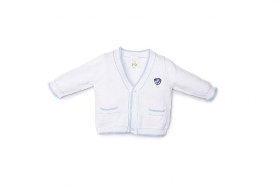 Cardigan Maschietto Luglio In Filo Bianco Con Inserti Cielo In Contrasto Lu777