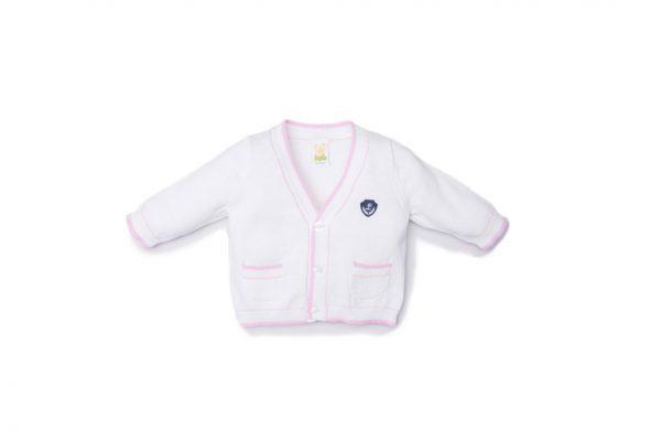 cardigan femminuccia luglio abbigliamento bicolore bianco rosa