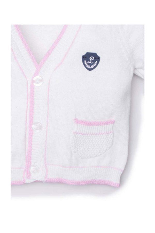 dettaglio cardigan luglio abbigliamento bianco inserti rosa