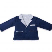 Giacca Maschietto Luglio In Cotone Bicolore Blu E Grigia Lu763