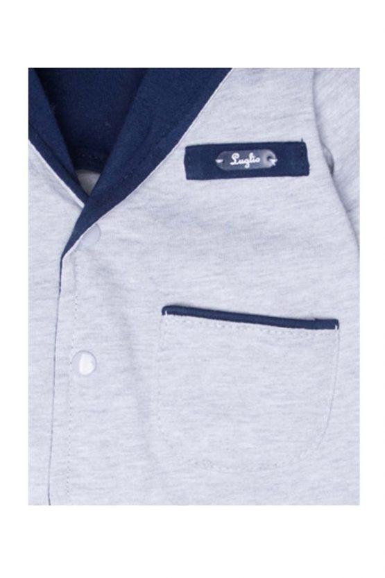 dettaglio giacca luglio abbigliamento maschietto grigio blu