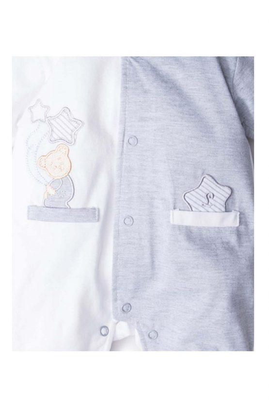 dettaglio tutina luglio abbigliamento bicolore grigio bianco
