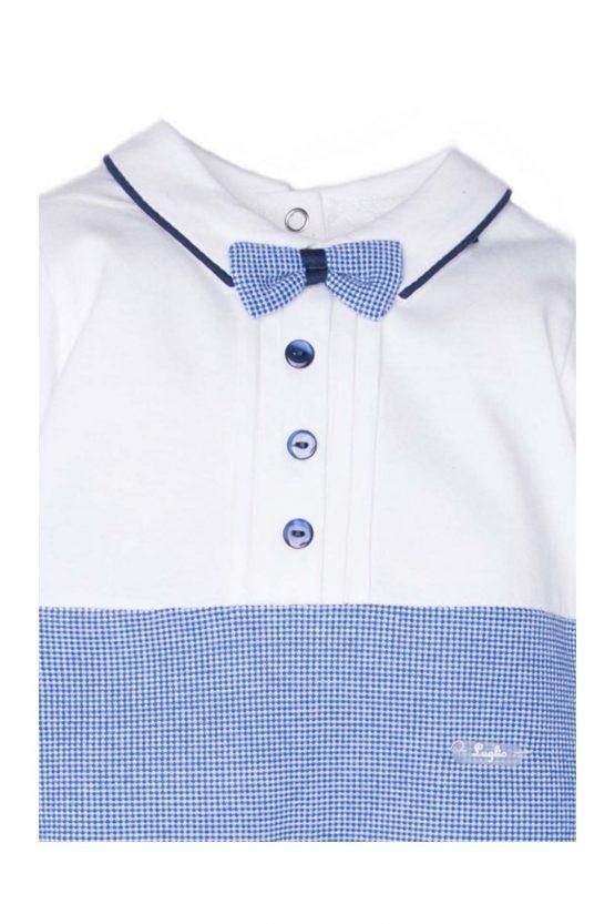 dettaglio tutina luglio abbigliamento bicolore bianco cielo
