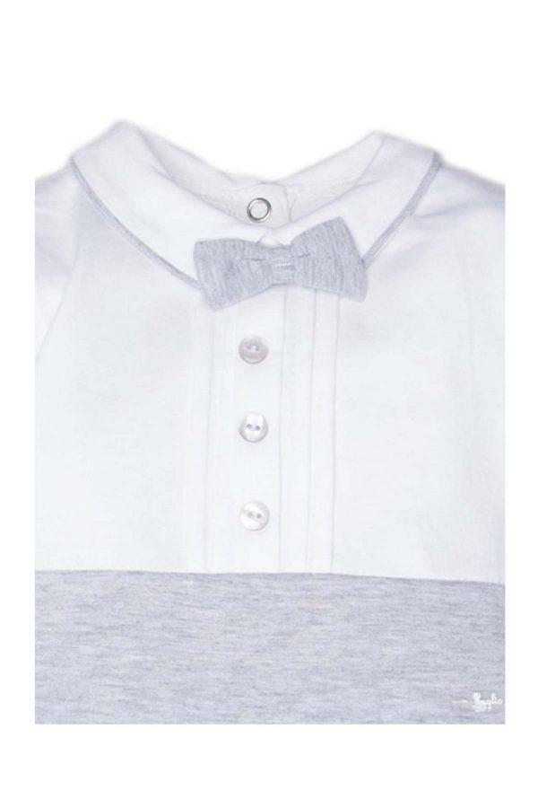 dettaglio tutina luglio abbigliamento bicolore bianco grigio