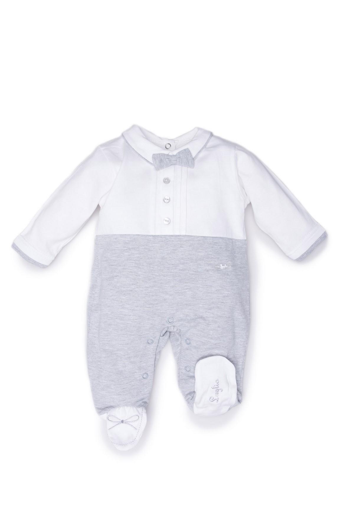 tutina maschietto luglio abbigliamento bicolore bianco grigio