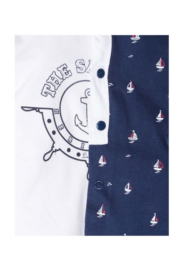 tutina maschietto luglio abbigliamento marinaretto bicolore bianca blu