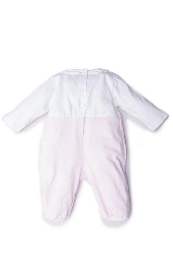 Retro tutina neonata bicolore bianco rosa