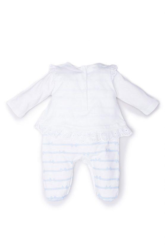 reetro tutina luglio abbigliamenti bicolore bianco cielo scarpine ricamate