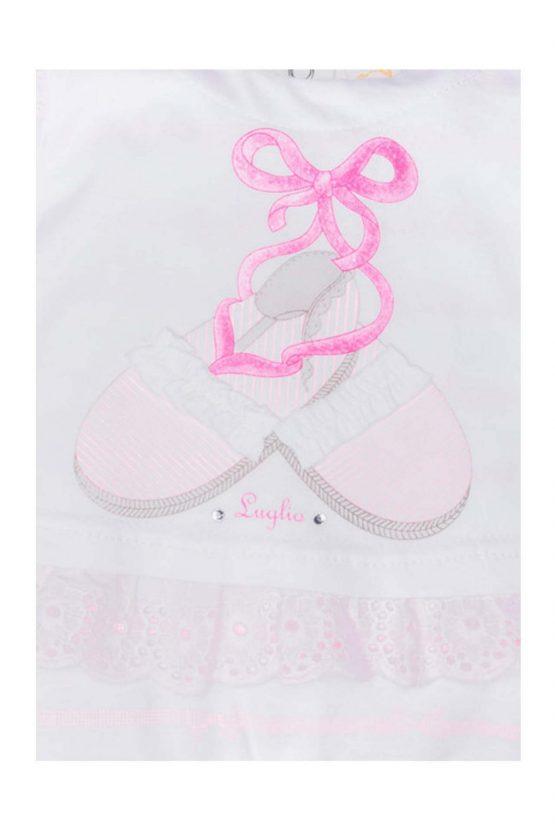 Dettaglio tutina femminuccia bicolore bianco rosa