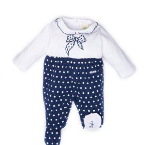 tutina luglio abbigliamento bicolore bianca blu fiocco ricamato