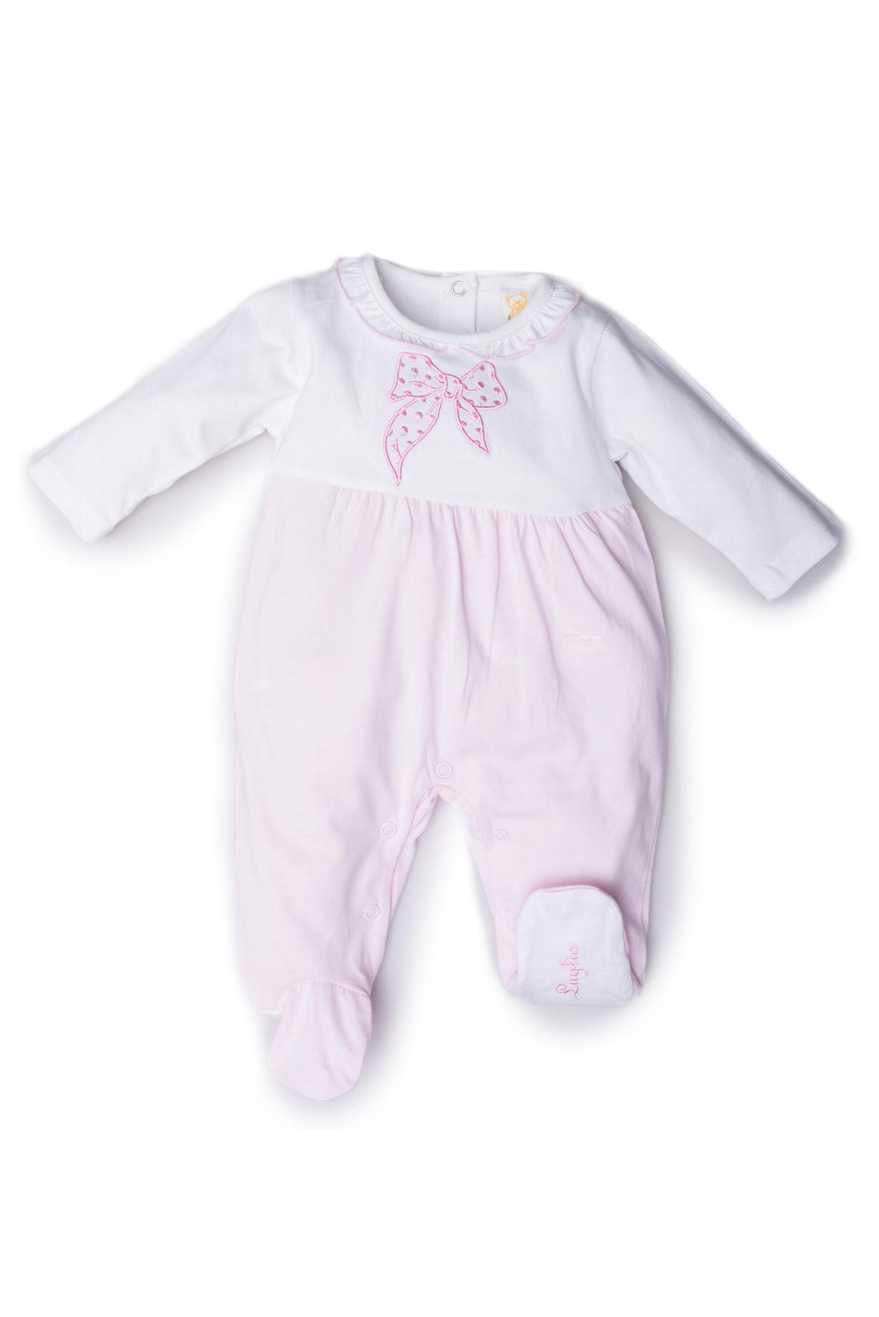 Tutina neonata rosa bianca fiocco ricamato
