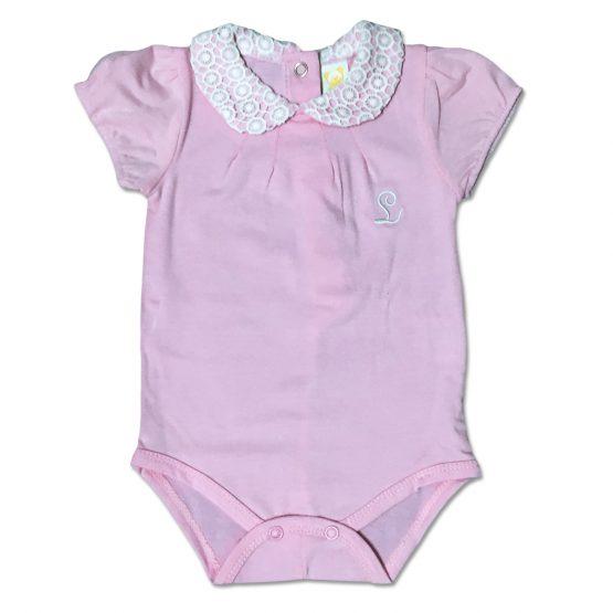 Body Femminuccia In Cotone Rosa Con Colletto Fantasia Macrame Luglio Lu775