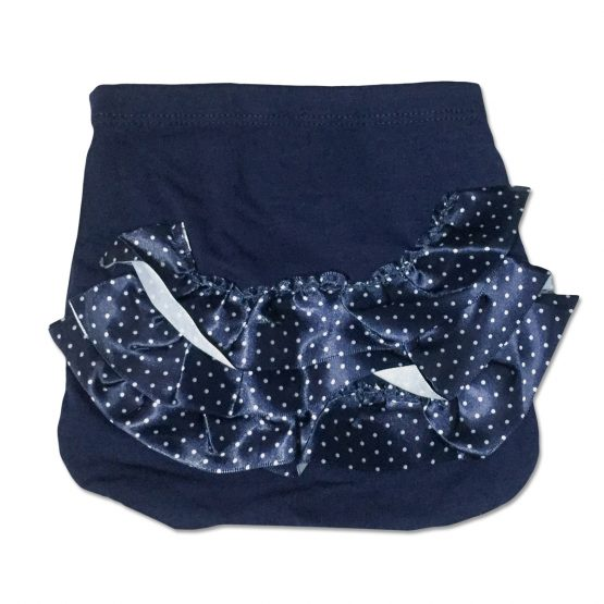 Culotte Femminuccia In Cotone Blu Con Rouche Applicate Luglio Lu776