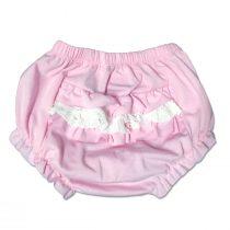 Culotte Sgambata Femminuccia In Cotone Rosa Con Rouche Applicate Luglio Lu775