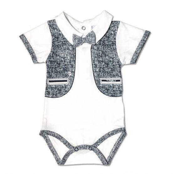 Body Maschietto Bicolore Bianco E Blu Con Gilet Disegnato E Papillon Applicato Luglio Lu768