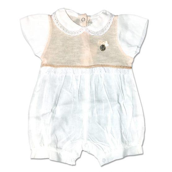 Pagliaccetto Femminuccia Bicolore Bianco E Beige Con Medaglietta Applicata Luglio Lu808