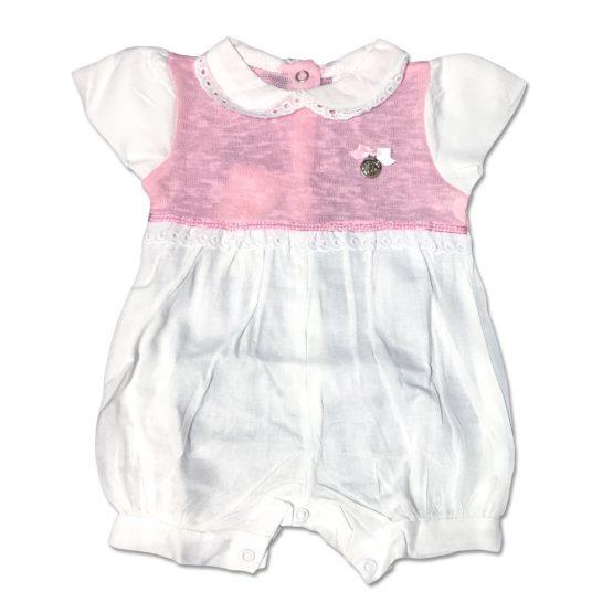 Pagliaccetto Femminuccia Bicolore Bianco E Rosa Con Medaglietta Applicata Luglio Lu808