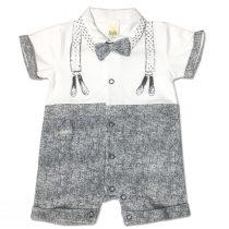 Pagliaccetto Maschietto In Cotone Bicolore Bianco E Blu Con Bretelle Disegnate Luglio Lu790