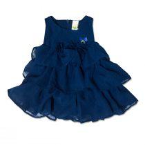 Vestitino Neonata In Cotone Blu Con Targhetta Applicata Luglio Lu813