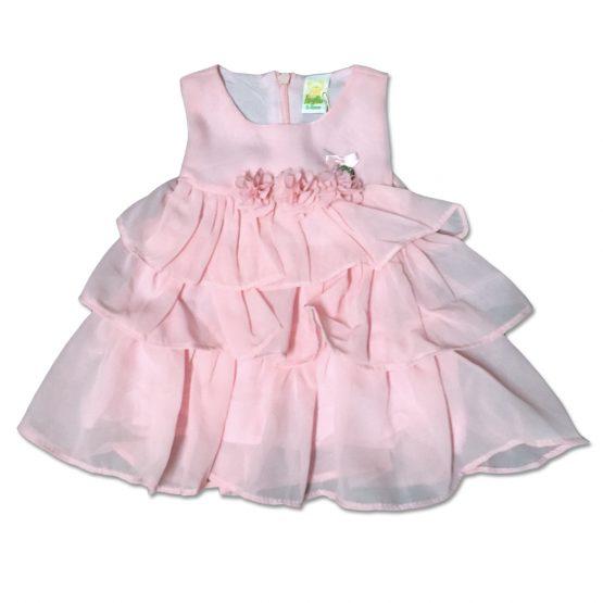 Vestitino Neonata In Cotone Rosa Con Targhetta Applicata Luglio Lu813