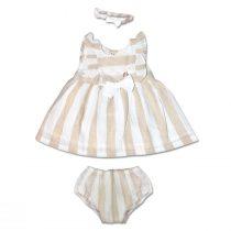 Completo Neonata Tre Pezzi Bicolore Bianco E Beige Composto Da Vestito Culotte E Fascetta Luglio Lu816