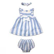 Completo Neonata Tre Pezzi Bicolore Bianco E Cielo Composto Da Vestito Culotte E Fascetta Luglio Lu816