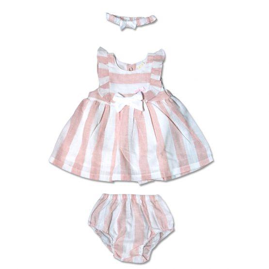 Completo Neonata Tre Pezzi Bicolore Bianco E Rosa Composto Da Vestito Culotte E Fascetta Luglio Lu816