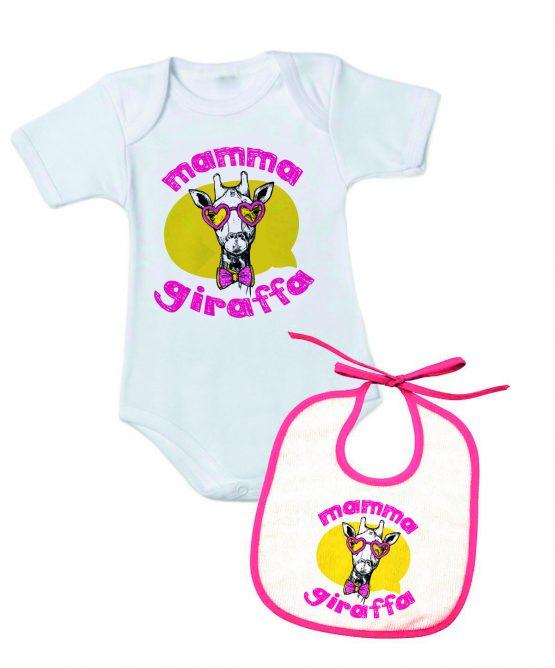 """Body+Bavetto con la scritta """"Mamma Giraffa"""""""