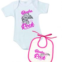 "Body+Bavetto con la scritta ""Bimba Rock"""